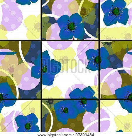 Seamless Blue Flowers Pattern With Circles Square Background