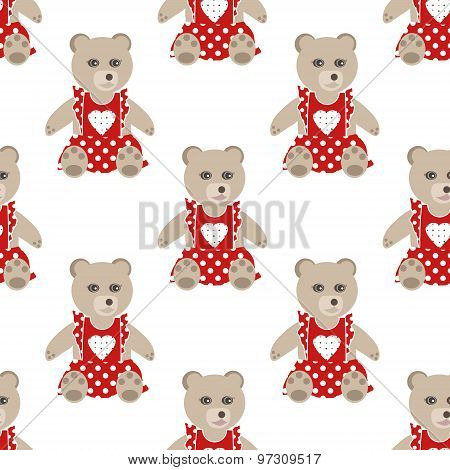 Illustration Of Seamless Pattern With Colorful Bears Teddy Background