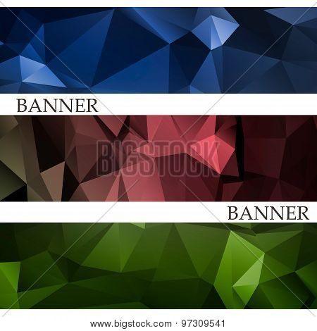 Banners With Abstract Multicolored Polygonal Mosaic Background. Modern Geometric Triangular Pattern.
