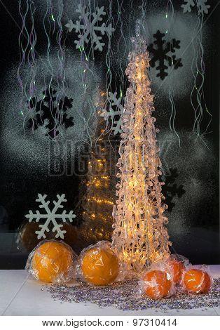 Luminous Christmas Tree, Tangerine And Decoration. Wallpaper.