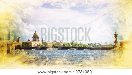 skyline in St. Petersburg Neva Beach - St. Isaac's Cathedral and other historical buildings. Russia. Filtered image: vintage effect.