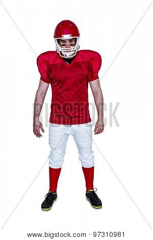 Portrait of a serious american football player on a white background