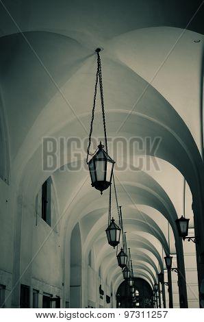 Vault Ceiling In Monochrome Tones