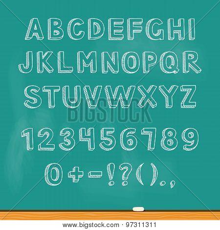 Drawing Alphabet Lettering On Chalk Blackboard. Vector