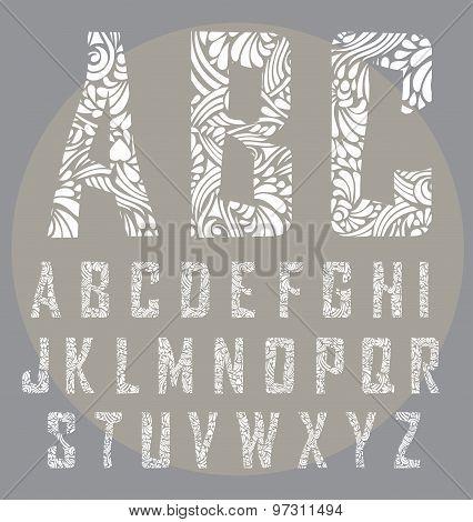 Calligraphic alphabet. Design elements
