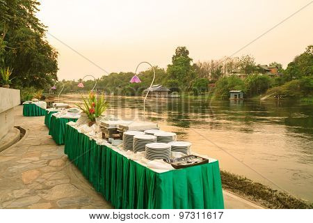 Prepared Dishes And Food For The Party At Riverside