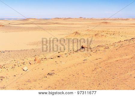 Sahara Desert Landscape In The South Of Egypt.