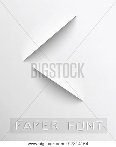 Paper cut letter. Typographic
