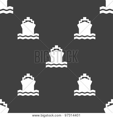 Ship Icon Sign. Seamless Pattern On A Gray Background. Vector