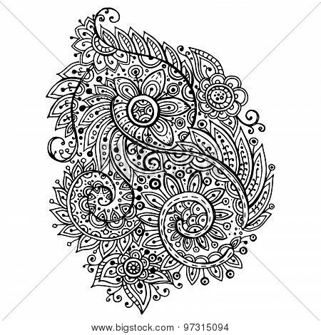 Traditional Vector Oriental Floral Black And White Ornament With A Lot Of Details In Doodle Style