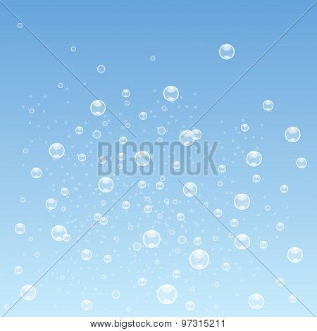 Blue Bubbles Background. Vector