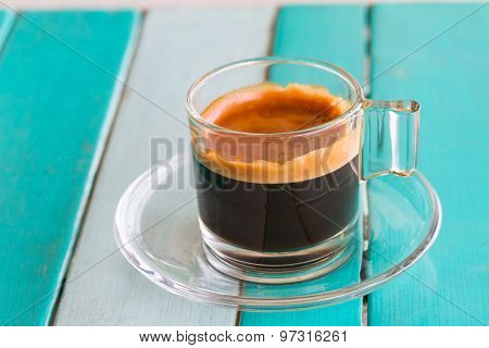 Coffee cup on white blue table