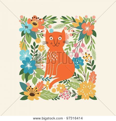 cute cat on a floral background, greeting card, birthday card design