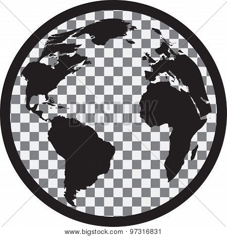 Icon of black and white globe