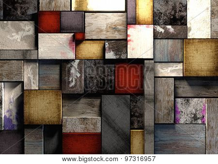 Colorful Grunge Textured Wooden Printing Blocks Packed Tightly Together To Form A Background Texture