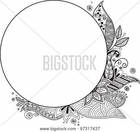 Floral Frame. Hand Drawn Zentangle. Vector Illustration.