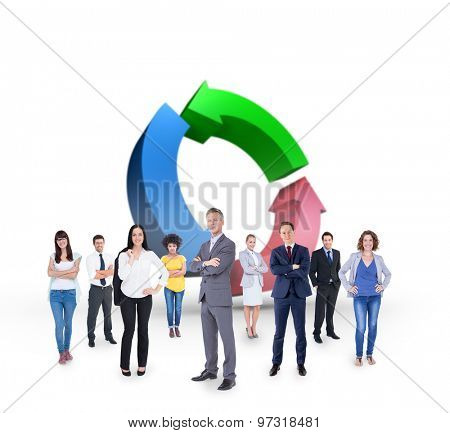 Business team against arrows in a circle
