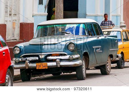 Havana, Cuba - February 5, 2008. Classic Oldtimer Car Parked On Street.