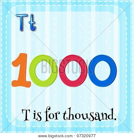 Flashcard letter T is for thousand