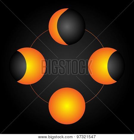 Moon Phases. Vector