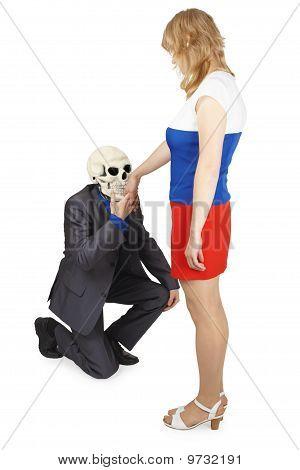 Skelett Kisses Hand, junge Frau