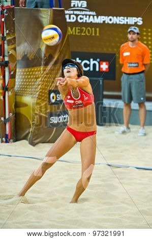 Rome, Italy - June 18 2011. Beach Volleyball World Championships. Woman Player In Action