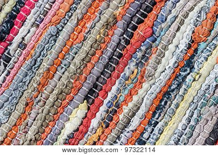 Carpet Striped Made From Little Pieces Of Colorful Woven Cotton