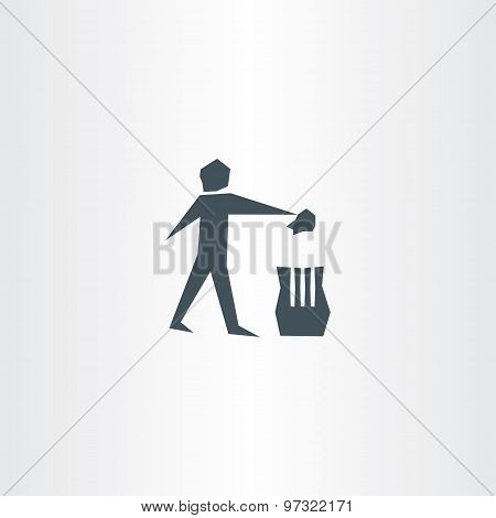 Recycling Trash Bin Man Symbol Garbage Icon