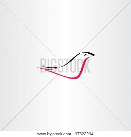 Red Black Stylized Bird Logo Vector