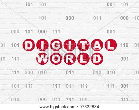 Information concept: Digital World on wall background