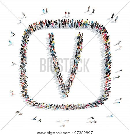 people in the shape of letters.