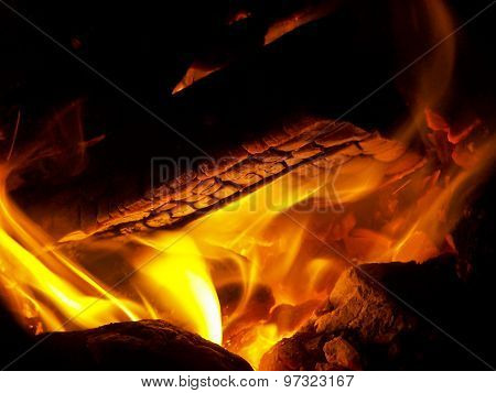 Logs burning in fire