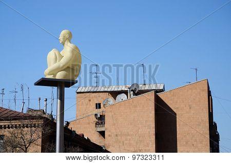 Modern art statue lantern