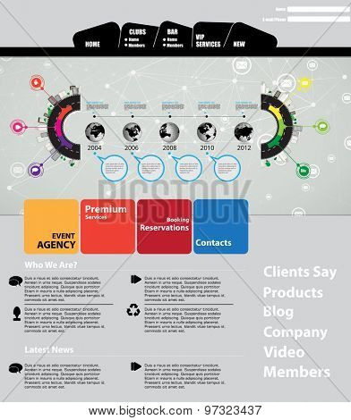Clean Business Website Template, Vector