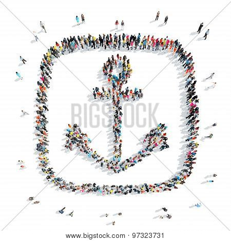 people in the shape of an anchor.
