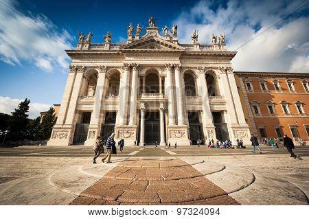 Rome, Italy - 16 November, 2014: San Giovanni al Laterano Basilica front fachade at Rome Italy