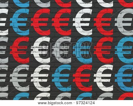 Banking concept: Euro icons on wall background