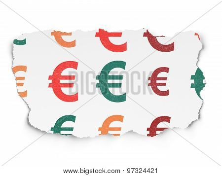 Currency concept: Euro icons on Torn Paper background