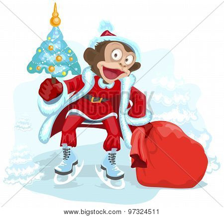 Monkey dressed as Santa is holding Christmas tree and bag gift