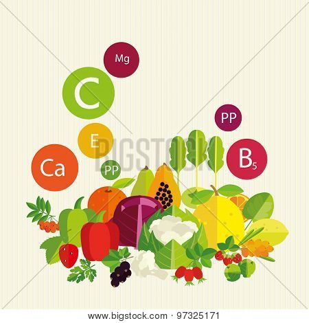 Vegetables, Fruit And Vitamins.