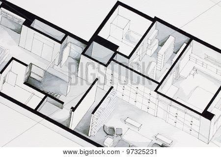 Graphic representation of real estate elegant simple floor plan