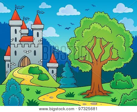 Castle and tree theme image - eps10 vector illustration.