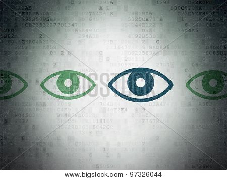 Privacy concept: eye icon on Digital Paper background