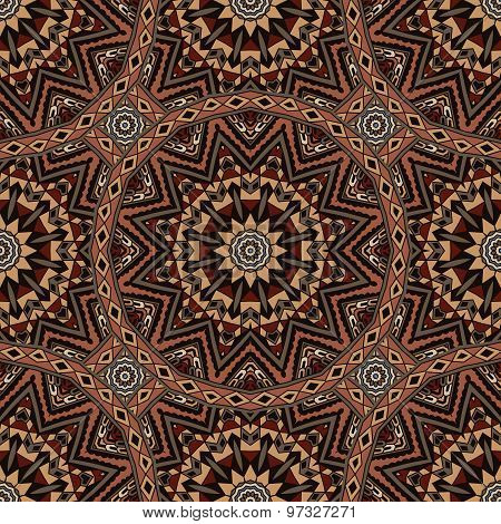 abstract mosaic tiles vintage ethnic seamless vector pattern ornamental