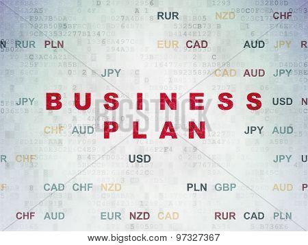 Finance concept: Business Plan on Digital Paper background