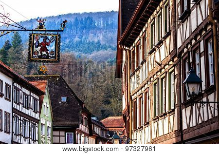 Picturesque half-timbered little town Miltenberg by the Odenwald forest and the river Main, Germany