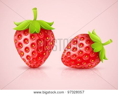 Red strawberries. Eps10 vector illustration