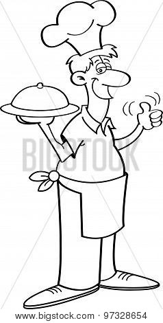 Cartoon man in a chef's hat holding a platter.