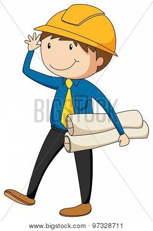 Engineer with a safety hat holding files