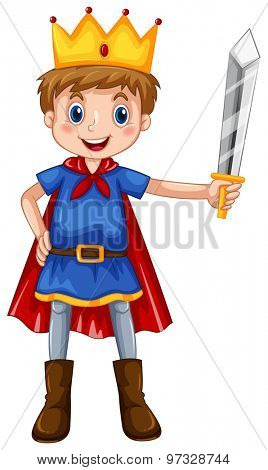 Boy in prince costume holding a sword